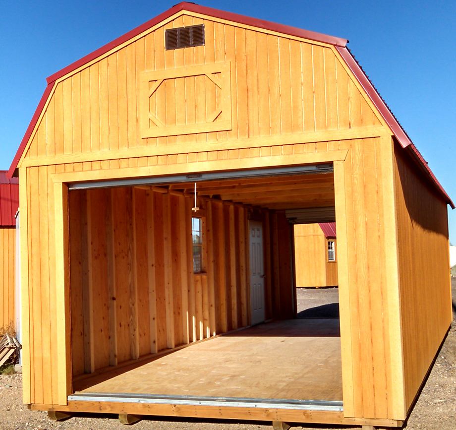 Customized Painted Lofted Barn Garages